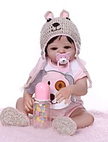 cheap -NPKCOLLECTION 20 inch Reborn Doll Baby Girl Gift Hand Made Artificial Implantation Brown Eyes Full Body Silicone Silica Gel Vinyl with Clothes and Accessories for Girls' Birthday and Festival Gifts