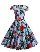 Недорогие -Жен. Уличный стиль С летящей юбкой Платье - Цветочный принт, С принтом Квадратный вырез До колена