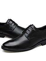 Недорогие -Муж. Комфортная обувь Кожа Весна & осень Туфли на шнуровке Черный / Коричневый