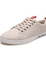 Недорогие -Муж. Комфортная обувь Лён Лето Кеды Белый / Черный / Бежевый