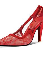 Недорогие -Жен. Замша / Сетка Весна лето Шинуазери (китайский стиль) Обувь на каблуках На шпильке Заостренный носок Пряжки Черный / Темно-красный / Миндальный / Свадьба / Для вечеринки / ужина