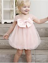 Недорогие -Дети Девочки Классический Однотонный С короткими рукавами Платье Розовый
