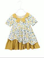 Недорогие -Дети Девочки Милая / Симпатичные Стиль Геометрический принт С короткими рукавами Платье Желтый