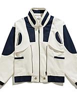 Недорогие -Муж. Повседневные Уличный стиль Обычная Куртка, Контрастных цветов V-образный вырез Длинный рукав Полиэстер Белый XL / XXL / XXXL