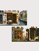Недорогие -С картинкой Роликовые холсты Отпечатки на холсте - Пейзаж Домики Modern