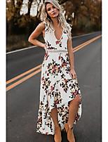 Недорогие -Жен. Для вечеринок Пляж Оболочка Платье Открытая спина Глубокий V-образный вырез Макси / Сексуальные платья