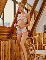 Недорогие -Жен. Хальтер Оранжевый Смелые Танкини Купальники - Геометрический принт S M L Оранжевый / Сексуальные платья