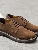 Недорогие -Муж. Комфортная обувь Замша Весна & осень Туфли на шнуровке Черный / Коричневый / Миндальный