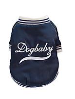 Недорогие -Собаки Коты Плащи Бейсбол Одежда для собак Вышивка Темно-синий Плюш Костюм Назначение Осень Зима Универсальные Спорт