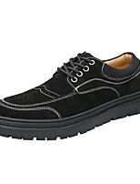 Недорогие -Муж. Комфортная обувь Свиная кожа Весна & осень Туфли на шнуровке Черный / Кофейный / Коричневый