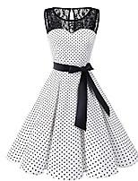 cheap -Women's Plus Size A-Line Dress Knee Length Dress - Sleeveless Polka Dot Lace 1950s Daily White Black S M L XL XXL XXXL XXXXL XXXXXL / Sexy