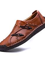 Недорогие -Муж. Комфортная обувь Кожа Наступила зима Мокасины и Свитер Черный / Темно-русый / Темно-коричневый