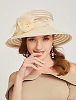 Недорогие -Жен. Активный / Праздник Соломенная шляпа Полоски / Цветочный принт