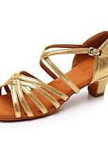 Недорогие -Жен. Обувь для латины Искусственная кожа Сандалии / На каблуках Пряжки Кубинский каблук Персонализируемая Танцевальная обувь Золотой