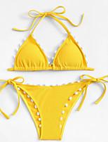 Недорогие -Жен. Хальтер Белый Желтый Смелые Танкини Купальники - Однотонный S M L Белый / Сексуальные платья