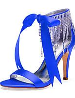 cheap -Women's Wedding Shoes High Heel Open Toe Wedding Party & Evening Satin Rhinestone Satin Flower Tassel Solid Colored White Black Purple