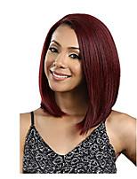 Недорогие -Синтетические кружевные передние парики Кудрявый / Естественные прямые Красный Стрижка боб / Стрижка каскад Темное вино 130% Человека Плотность волос Искусственные волосы 12 дюймовый Жен. Женский