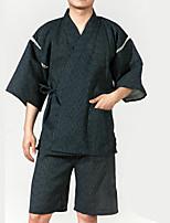 Недорогие -Взрослые Муж. Кимоно Кимоно Jinbei Махровый халат Назначение Halloween На каждый день фестиваль Хлопок Кофты Брюки