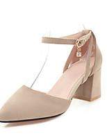 Недорогие -Жен. Искусственная кожа Весна лето Обувь на каблуках На толстом каблуке Заостренный носок Черный / Бежевый / Розовый