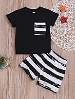 Недорогие -малыш Мальчики На каждый день / Активный Повседневные Черное и белое Полоски С принтом С короткими рукавами Обычный Хлопок Набор одежды Черный