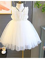 Недорогие -Дети Девочки Классический Однотонный Без рукавов Платье Белый