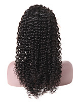 Недорогие -человеческие волосы Remy Лента спереди Парик Свободная часть Бразильские волосы Волнистый Естественные кудри Черный Парик 130% Плотность волос