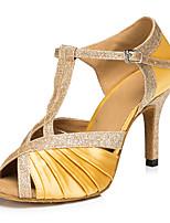 Недорогие -Жен. Обувь для латины Сатин На каблуках Кубинский каблук Персонализируемая Танцевальная обувь Цвет-леопард / Телесный