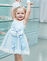 Недорогие -Дети Девочки Классический Однотонный Без рукавов Платье Светло-синий