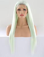 Недорогие -Синтетические кружевные передние парики Матовое стекло / Шелковисто-прямые Зеленый Свободная часть Мятно-зелёный Искусственные волосы 24 дюймовый Жен. Косплей / Регулируется / Жаропрочная Зеленый