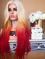 Недорогие -Синтетические кружевные передние парики Волнистый Черный Средняя часть Отбеливатель Blonde Искусственные волосы 24 дюймовый Жен. Для вечеринок / синтетический / Легко туалетный Черный / Фиолетовый