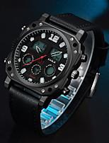 Недорогие -ASJ Муж. Спортивные часы электронные часы Японский Японский кварц Натуральная кожа Черный 100 m Повседневные часы Аналого-цифровые На каждый день Мода - Черный Два года Срок службы батареи
