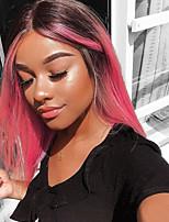 Недорогие -Не подвергавшиеся окрашиванию Полностью ленточные Парик Глубокое разделение стиль Бразильские волосы Прямой Красный Парик 130% Плотность волос с детскими волосами 100