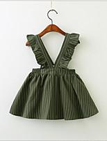 Недорогие -Дети (1-4 лет) Девочки Милая / Симпатичные Стиль Полоски Без рукавов Платье Зеленый