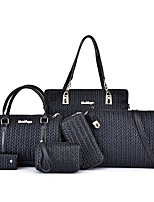 cheap -Women's Zipper PU Bag Set Solid Color 6 Pieces Purse Set Black / Brown / Blue