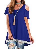 Недорогие -женская футболка размера eu / us - цвет блока на шее
