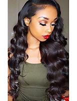 Недорогие -Необработанные натуральные волосы 360 Лобовой Лента спереди Парик Глубокое разделение стиль Бразильские волосы Волнистый Парик 130% 150% 180% Плотность волос / Жаропрочная / с детскими волосами