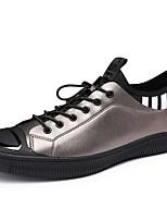 Недорогие -Муж. Комфортная обувь Кожа Весна Кеды Черный / Серебряный