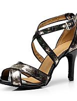 Недорогие -Жен. Обувь для латины Полиуретан На каблуках Кубинский каблук Персонализируемая Танцевальная обувь Черный