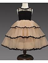 Недорогие -Дети Девочки Классический Однотонный Без рукавов Платье Хаки