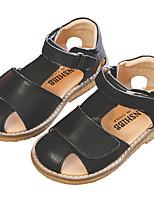 Недорогие -Девочки Обувь Полиуретан Лето Удобная обувь Сандалии На липучках для Дети Черный / Бежевый