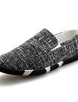 Недорогие -Муж. Комфортная обувь Лён Весна Мокасины и Свитер Черный / Синий / Хаки