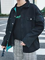 Недорогие -Муж. Повседневные Весна Обычная Куртка, Однотонный Рубашечный воротник Длинный рукав Акрил / Полиэстер Черный XXXL / XXXXL / XXXXXL