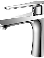 Недорогие -Ванная раковина кран - Современный Хром Керамический клапан Bath Shower Mixer Taps