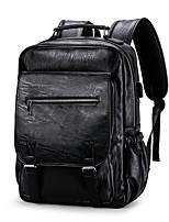 Недорогие -Муж. Мешки PU рюкзак Молнии Сплошной цвет Черный / Коричневый