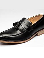Недорогие -Муж. Кожаные ботинки Кожа Весна & осень Английский Мокасины и Свитер Черный / Коричневый / Винный