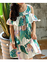 Недорогие -Дети Девочки Классический Цветочный принт С короткими рукавами Платье Белый