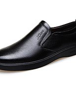 Недорогие -Муж. Комфортная обувь Кожа Весна & осень Мокасины и Свитер Черный / Коричневый