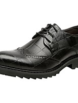 Недорогие -Муж. Комфортная обувь Кожа Весна Туфли на шнуровке Черный / Коричневый