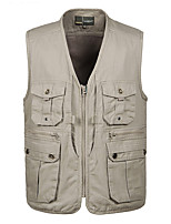 cheap -Men's Hiking Vest / Gilet Summer Outdoor Solid Color Windproof Breathable Comfortable Multi-Pocket Jacket Top Cotton Full Length Visible Zipper Hunting Fishing Climbing Dark Green / Khaki / Light