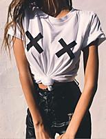 Недорогие -женская футболка азиатского размера - геометрическая шея